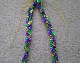 Beaded Mardi Gras statement green, purple, and gold mask necklace
