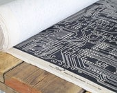 Contemporary Geometric Designer Fabric - Circuit Slate - Unusal Circuit Board Pattern - Industrial Style