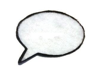 Speech Bubble Iron On Patch - No Sew - Felt