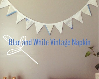 Blue and White Vintage Napkin Pennant Banner
