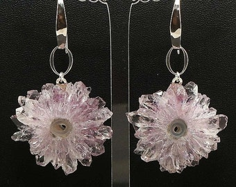Earrings with Large Amethyst stalactites no.9, sterling silver hooks (#6121)
