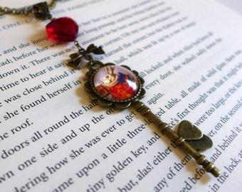 Summer Sale! Antique Bronze Alice in Wonderland Key Necklace