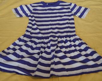 Vintage 1980's - Lands End Kids Dress in Blue
