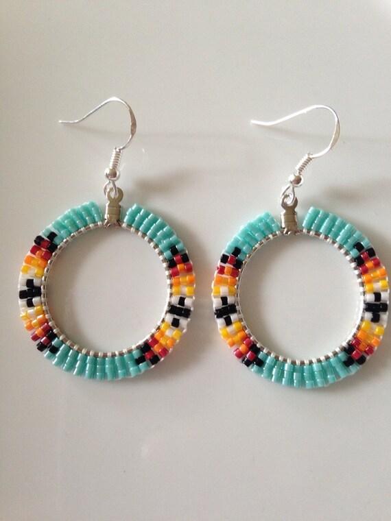 american beaded hoop earrings turquoise 1 4 inch