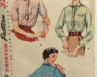 Simplicity 4813  misses' shirt size 12 bust 30 vintage 1950's sewing pattern