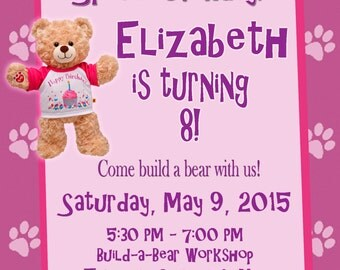Personalized Customized Build-A-Bear Birthday Invitation - Birthday Bear and Promise Pets Kitty