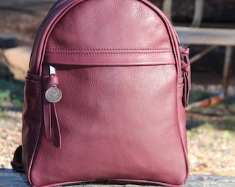 Leather Zip Day Backpack