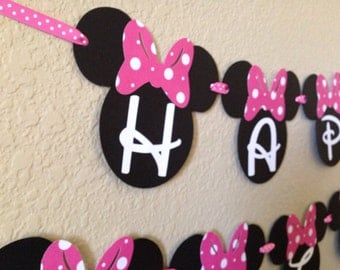 Minnie Mouse Birthday Banner, Minnie Mouse Party, Minnie Mouse Birthday, Hot Pink Minnie Mouse Banner, Minnie Mouse