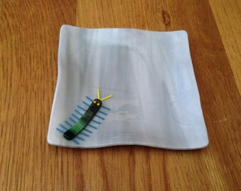 Gray Fused Glass Bug Dish, Stained Glass