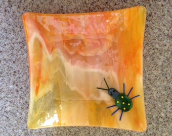 Orange Fused Glass Bug Plate, Stained Glass