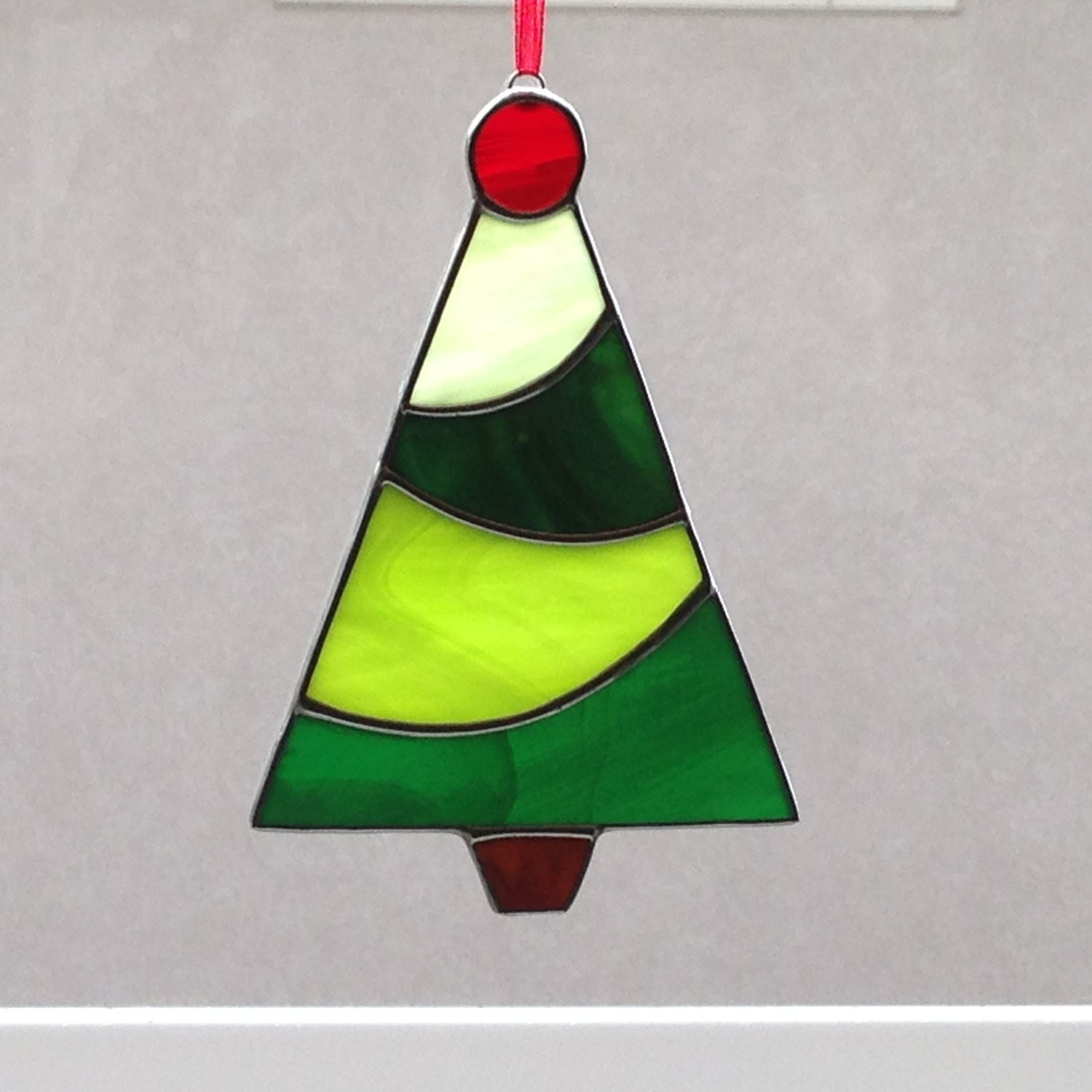 Stained glass christmas tree ornament suncatcher