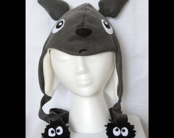 Totoro Fleece Hat with Soot Sprite Cute Plush