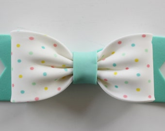 Gum Paste BOW - Teal Polka Dot