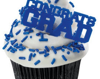 CONGRATS GRAD BLUE Cupcake Picks