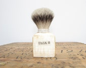 Unique handmade shaving brush made with recycled pallet wood and high quality badger hair