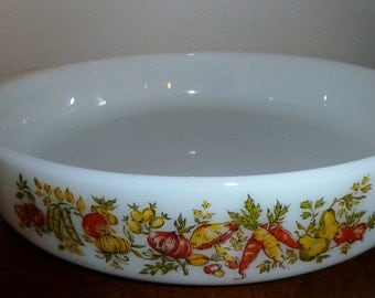 Vintage Anchor Hocking Fire King Harvest Vegetable 1 Quart Casserole Dish