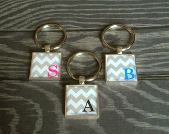 Popular Chevron Keychain with your choice of Initial and Color!