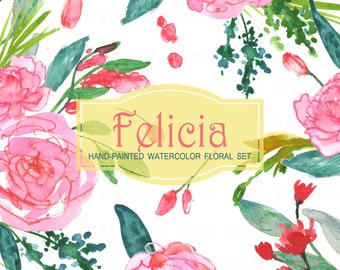 Watercolour Floral Clipart: Red Roses, Watercolour Clip Art/Rose/Individual PNG files/Hand Painted-Felicia