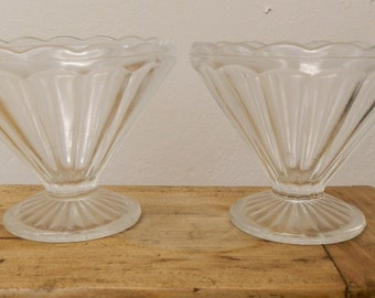 Pair of 1930's Vintage Art Deco Fluted Glass Sundae / Ice Cream Dishes