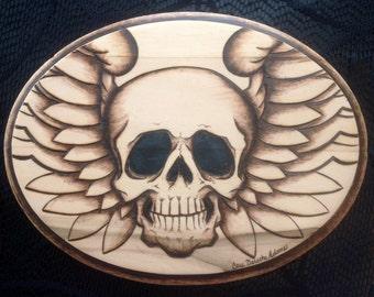 Skull & Wings Woodburning Art