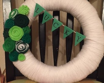 St. Patrick's Day Yarn Wrapped Wreath with Felt Flowers and Banner