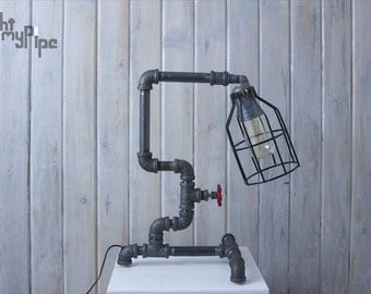 Caged Industrial Pipe Lamp