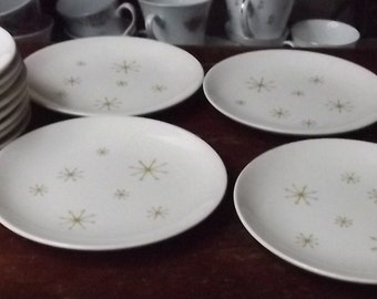 Star Glow Cake Bread Plate pattern by Royal China mid century 1950 atomic snowflake