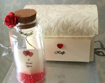 Personalised Romantic love diamanté gems message in a bottle I love you gift present card keepsake