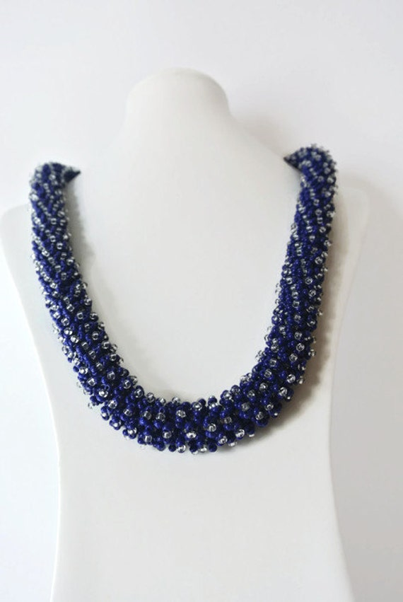 braided seed bead necklace blue snake beadwork glass by