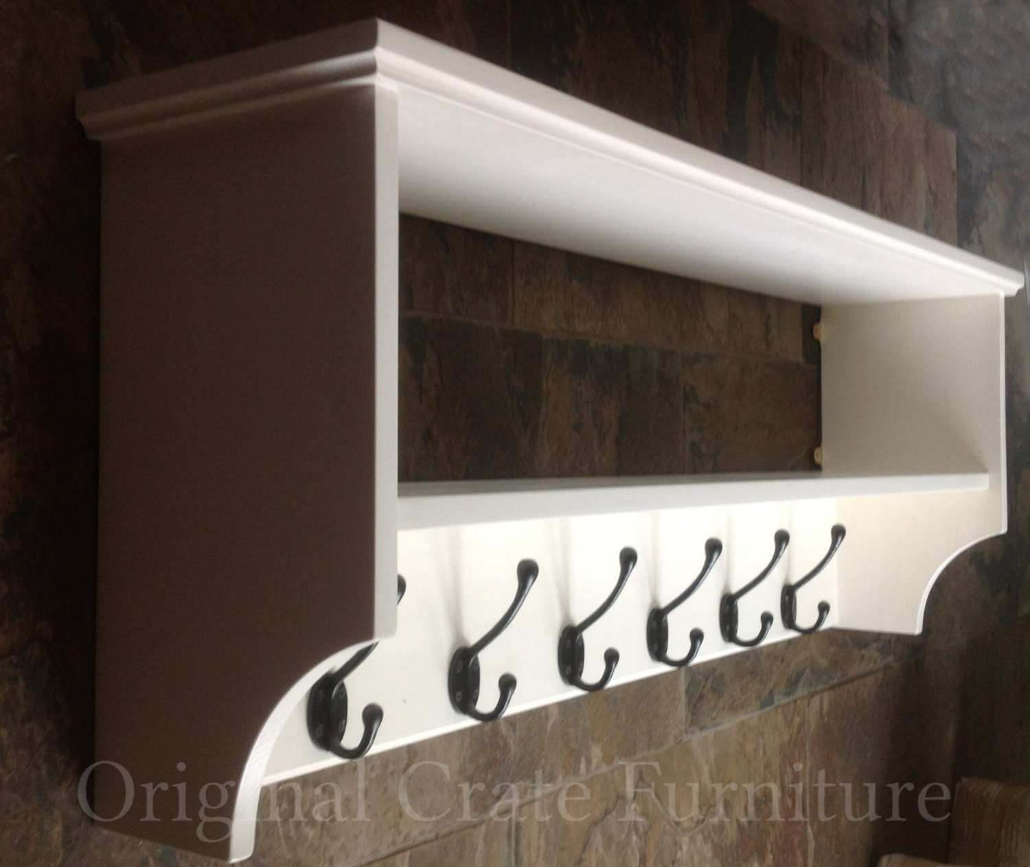 Hat Amp Coat Rack With Shelf Painted Wall Mounted Solid Wood