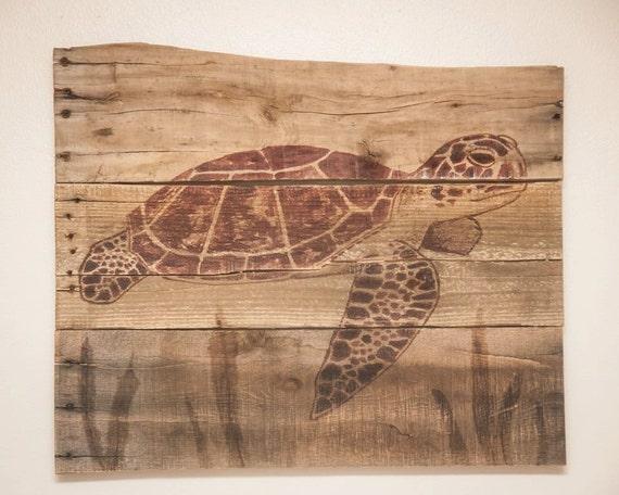 Sea Turtle Pallet Wood Art Rustic Beach Decor Lake House Art