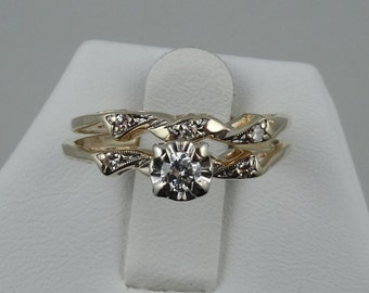 Beautiful Vintage 1940's 14K Gold and Diamond Wedding Set.  Matching Engagement Ring and Wedding Band.  #YG1940SET-WS