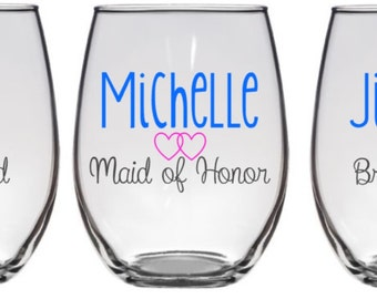4 Bridesmaid Wine Glass, Personalized Bridesmaid Gifts, Bridesmaid Gift, Maid of Honor Wine Glass, Maid of Honor Gift, Bridal Party Glasses