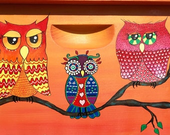 Wise Owls Beehive Box ORANGE YELLOW for Honey Bees, Custom Painted Beekeeping Bee Equipment