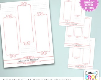 "Editable Scrap Book Pages for 2x6 Photo Booth Strips — DIY  ""Download, Edit and Print"" (Printing Service Also Available)"