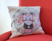 Miss Kitty 12 x 12 Pillow Slip Cover/Tween Decor/Cat Pillow Cover/Embroidered Pillow