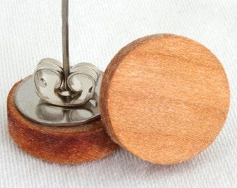 Black Cherry Wood Stud Earrings or Fake Plugs