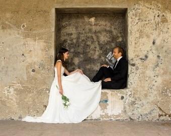 Geometric silk wedding dress / Geometrical bridal dress, silk