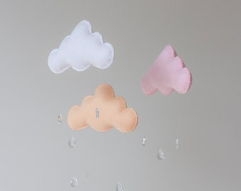 Pink, Peach and White Felt Cloud Mobile Raindrops Baby Nursery Childrens Decor Pastel