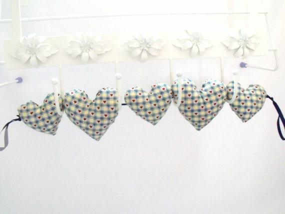 Decorative Wall Hanging Hearts : Decorative fabric hanging heart garland ditsy print