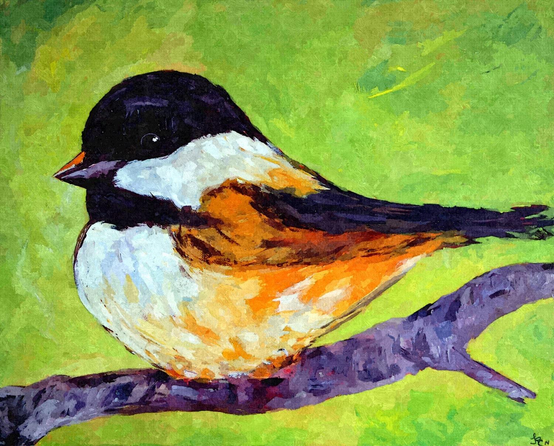 Robin painting 6x6 impressionistic original oil  |Bird Painting Acrylic