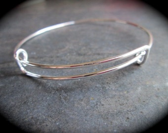 Adjustable wire bangle bracelet blanks silver plated alloy metal expandable wire bangle bracelet