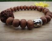 RUDRAKSHA Bracelet ,Unisex Bracelet, Buddha Bracelet, Yoga Bracelet,Wrist Mala, Wood Bead Bracelet, Spiritual Bracelet, Free Shipping