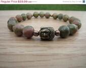 VALENTINE SALE 8 mm. Unakite Buddha Bracelet, Gemstone Charm Bracelet, Yoga Mala Bracelet, Wrist Mala,Protection Bracelet, Healing Stone, Fr