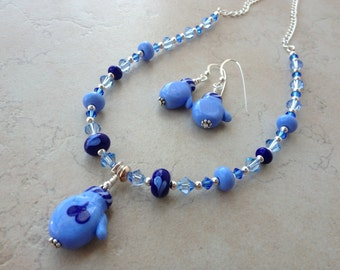 Lampwork beads mittens necklace and earrings with Swarovski crystals and sterling silver, Lampwork jewelry