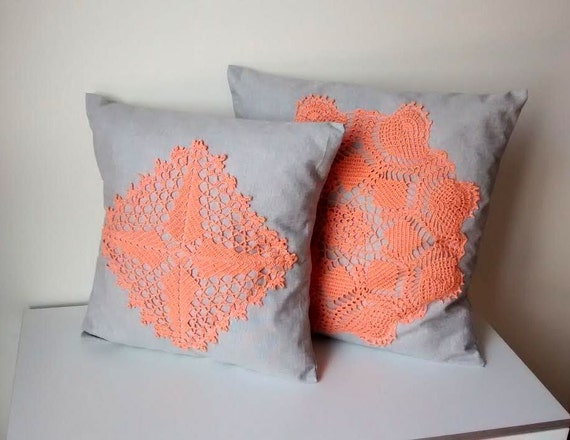 Lace Throw Pillows Covers : Throw Pillow Covers Set of 2 Crochet Pillows by MyLacyBoutique