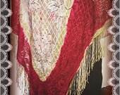 Reserved for Dawn.Vintage 1920 lace shawl,vintage 1920 fringe  shawl,antique fringe lace red white floral knit cape,large roaring 20s shawl,