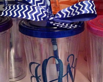Monogrammed Tumbler with Lid and Straw