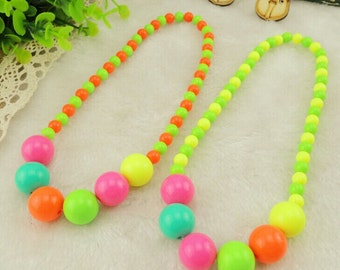 Color beads necklace Baby jewelry Pink/blue/green/orange/yellow beads Kids accessories