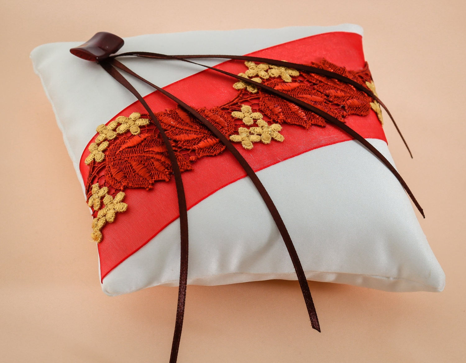If The Ring Fits Asian Inspired Wedding: Japanese Style Autumn Style Wedding Ring Pillow Red By